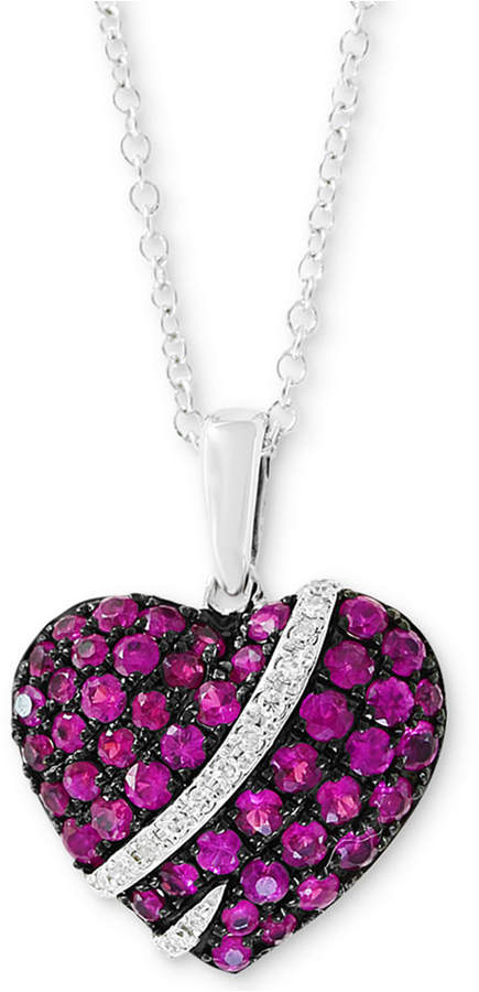 "Effy Ruby (3/4 ct. t.w.) & Diamond Accent 18"" Pendant Necklace in 14k White Gold"