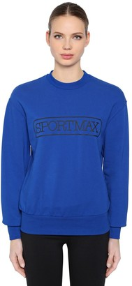 Sportmax Logo Printed Cotton Blend Sweatshirt