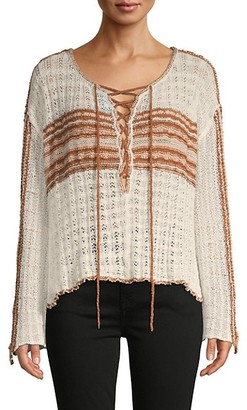 Free People Lace-Up Cotton-Blend Sweater
