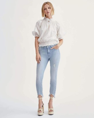 7 For All Mankind Ankle Skinny with Wave Hem in Light Winona