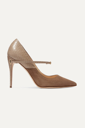 Jennifer Chamandi Lorenzo 105 Suede And Elaphe Pumps - Taupe