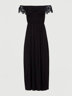 Very Broderie Trim Bardot Maxi Dress - Black