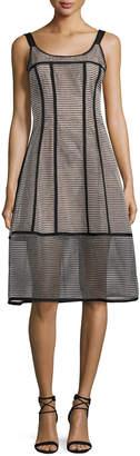 Nanette Lepore Sail Away Sleeveless Structured Mesh Stripe Dress, Black