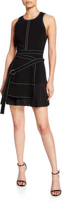 Cinq à Sept Carver Sleeveless Pleated Dress with Belt