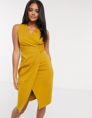 Closet London gathered wrap dress in mustard
