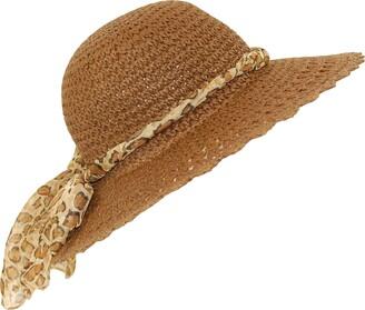 Top Brand Ladies straw sun hat packable large brim leopard print scarf band (56CM