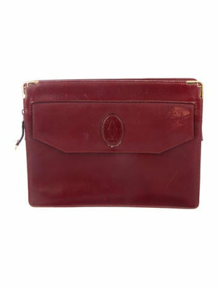 Cartier Leather Zip Clutch Red