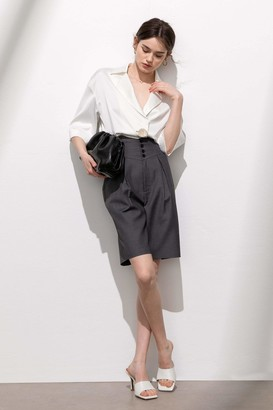 J.ING Portia Charcoal High-Waist Pleated Shorts
