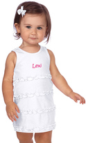 Princess Linens White & Hot Pink Personalized Ruffle Shift Dress - Infant