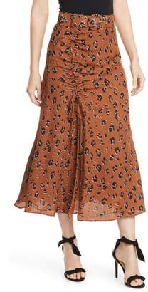 Nicholas Side Gathered Silk Skirt