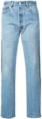 RE/DONE high rise ankle crop side zipper jeans