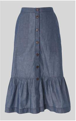 Whistles Button Chambray Skirt