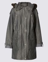 Marks and Spencer Faux Fur Hooded Trench with StormwearTM