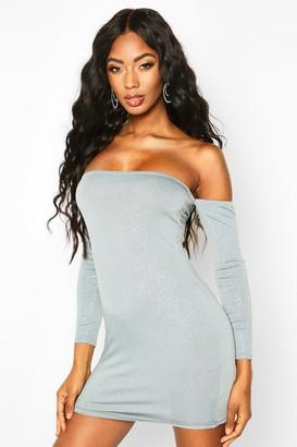 boohoo Glitter Off The Shoulder Long Sleeve Mini Dress