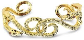 Sterling Forever 14K Plated Cz Interlocking Snake Cuff Bracelet