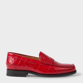 Paul Smith Women's Red Mock Croc Leather 'Lennox' Fringed Loafers