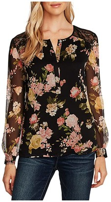 Vince Camuto Long Sleeve Beautiful Blooms Blouse w/ Lace Trim (Rich Black) Women's Clothing