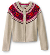Classic Little Girls Fair Isle Chunky Cardigan-Oatmeal Heather Pattern