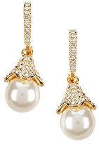 Nadri Pave Faux-Pearl Drop Earrings
