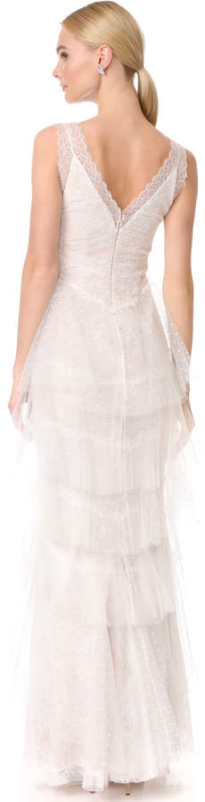 Marchesa Lace Gown with Tiered Skirt