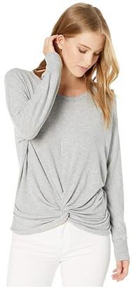 Michael Stars Madison Brushed Jersey Alexa Dolman Sleeve Top with Twist (Black) Women's Clothing