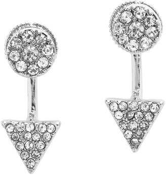 Sterling Forever Cubic Zirconia Sparkle Triangle Jacket Earrings
