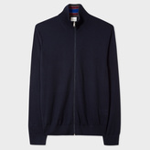 Paul Smith Men's Navy Merino Wool Funnel Neck Cardigan