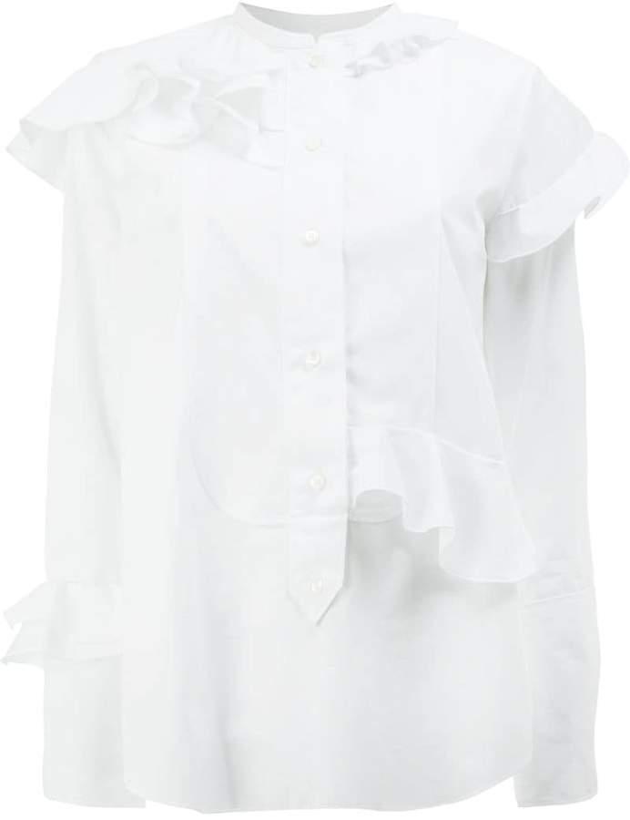 Maison Rabih Kayrouz collarless ruffle blouse