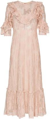 By Ti Mo Bytimo lace ruffled trim midi dress
