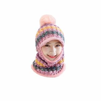 Hanma Womens Winter Thick Beanie Hat Fleece Lined Women Knit Beanie Scarf Set Girls Winter Ski Hat with Earflap Pompom Pink