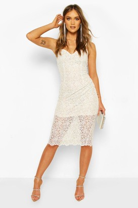 boohoo Strappy Crochet Lace Midi Dress