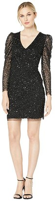 Adrianna Papell Long Sleeve Beaded Cocktail Dress (Black) Women's Dress