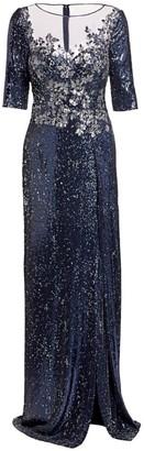 Teri Jon By Rickie Freeman Embellished Sequin Slit Gown