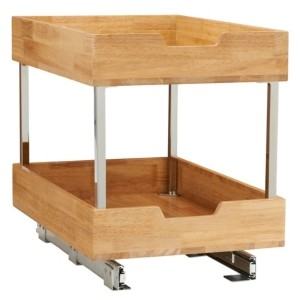 "Household Essentials Glidez Wood 14.5"" 2-Tier Sliding Cabinet Organizer"