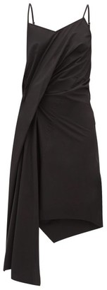 Marques Almeida Gathered Asymmetric Poplin Slip Dress - Black