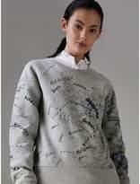 Burberry Doodle Print Cotton Blend Jersey Sweatshirt