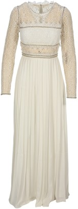 Self-Portrait Lace Embellished Pleated Gown