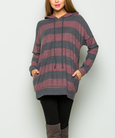Sweet Pea Burgundy & Gray Stripe Hooded Tunic