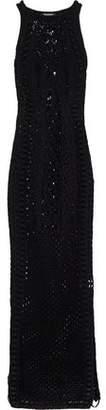 Balmain Lace-up Crocheted Cotton Maxi Dress