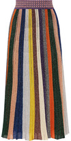 Missoni Pleated Metallic Striped Knitted Skirt - Yellow