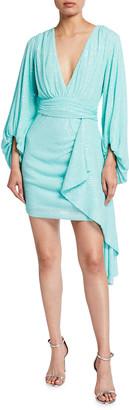 ONE33 SOCIAL Soft Sequined Balloon-Sleeve Mini Dress