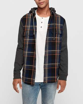 Express Plaid Flannel Color Block Hooded Shirt
