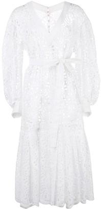 Carolina Herrera Floral Laser-Cut Midi Dress