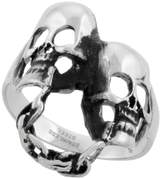 Sabrina Silver Surgical Steel Biker Ring Chained Double Skull 1 3/16 inch, size 9