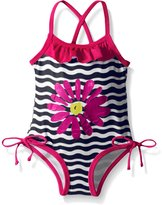 Pink Platinum Baby Big Flower and Wave Swimsuit