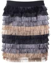 BCBGMAXAZRIA Christal Metallic-fringe Mini Skirt