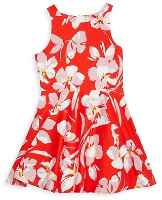Milly Girl's Hibiscus Print A-line Dress