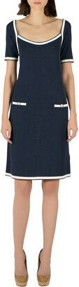 Blumarine Navy Blue Rib Knit Scoop Neck Shift Dress M