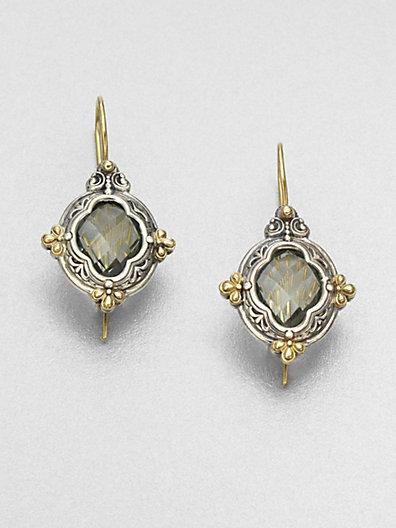 Konstantino Prasiolite, Sterling Silver & 18K Yellow Gold Earrings