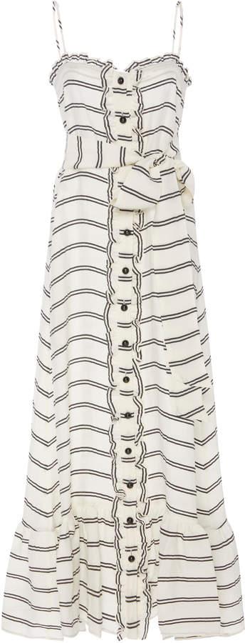 Lisa Marie Fernandez Tie-Detailed Ruffled Striped Voile Maxi Dress